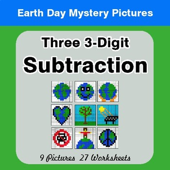 Earth Day: Three 3-digit Subtraction - Color-By-Number Mystery Pictures