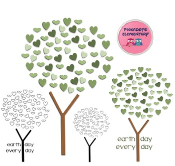 Earth Day Tree Clip Art Freebie! Color and Black and White PNG files!