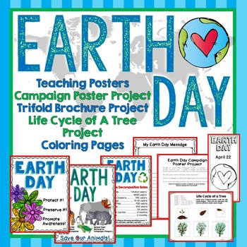 Earth Day Trifold Brochure Project, Teaching Posters, Coloring Pages, Writing