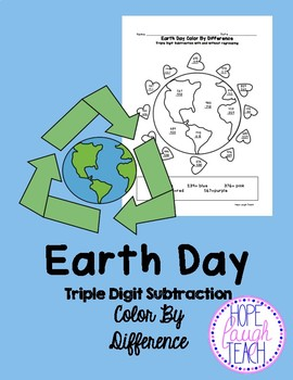 Earth Day Triple Digit Subtraction