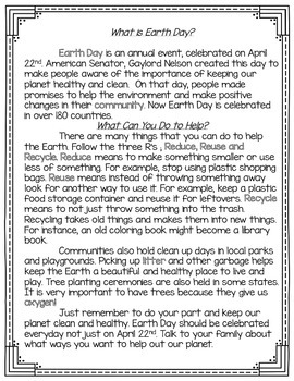 Earth Day Unit 3-5