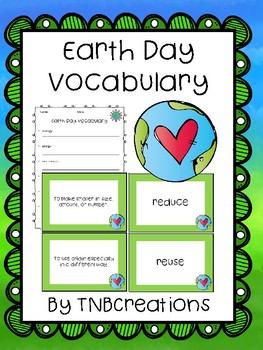 Earth Day Vocabulary Cards and Worksheets