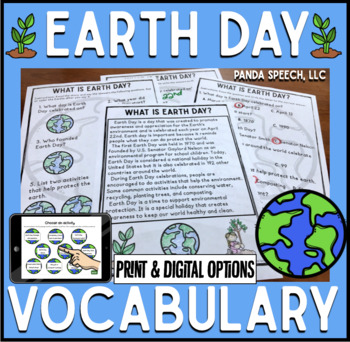 Earth Day Vocabulary NO Prep Packet  Elementary Science, E