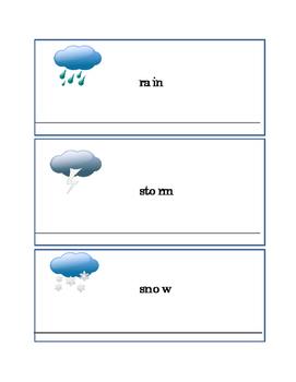 Earth Day Weather Words Sun Wind Rain Storm Snow Writing J