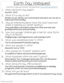 Earth Day Webquest