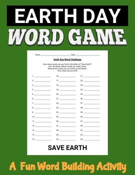 Earth Day Word Challenge