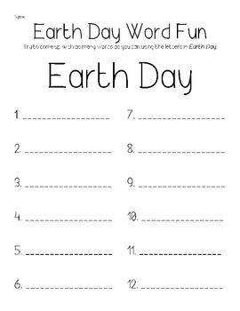 Earth Day Word Fun