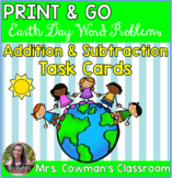Earth Day Word Problem Task Cards: Sums to 100