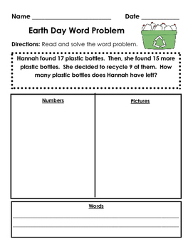 Earth Day Word Problem Worksheet
