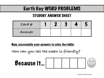Earth Day Word Problems - Math Mixer Activity - Lower Elementary