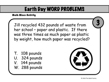 Earth Day Word Problems - Math Mixer Activity - Middle School