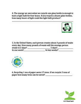 Earth Day Activity: Word Problems -  Multiple Operations