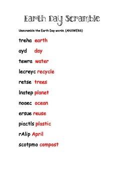Earth Day Word Scramble