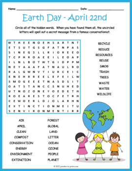 Earth Day Word Search Puzzle