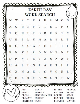 Earth Day Word Search (color and BW versions)