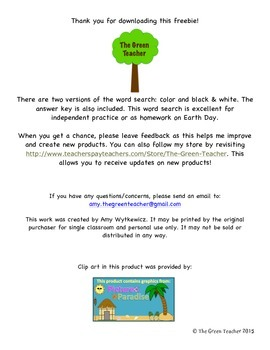 Earth Day Word Search - Answer Key Included