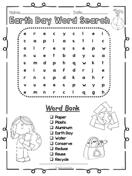 Earth Day Word Search Kindergarten