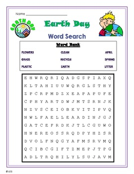Earth Day Word Search- primary