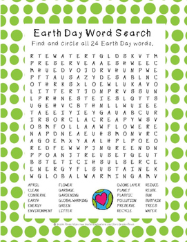 photo about Earth Day Word Search Printable identify World Working day Term Appear