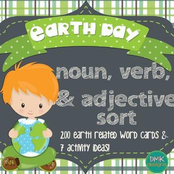 Earth Day Noun, Verb & Adjective Sort