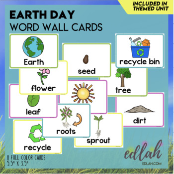 Earth Day Vocabulary Word Wall Cards (set of 11) - Full Color Version
