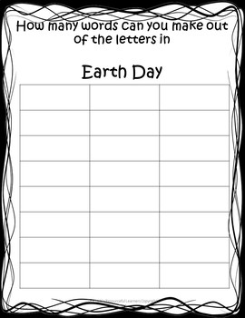 Earth Day Word Work Activity