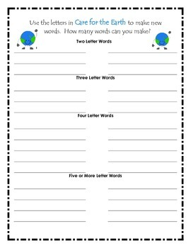 Earth Day Word Work Center
