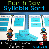Earth Day Words Syllable Sort Literacy Center