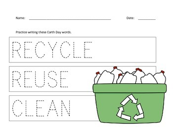 Earth Day Worksheets for Preschool Students