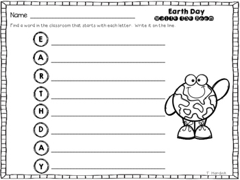 Earth Day - Write the Room