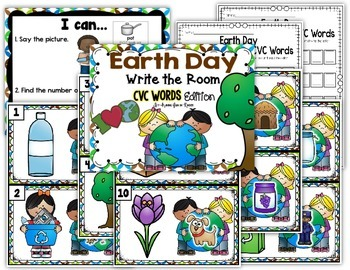 Earth Day Write the Room - CVC Words Edition