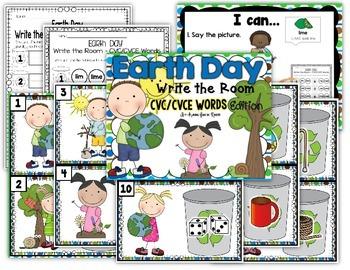 Earth Day Write the Room - CVC/CVCE Edition