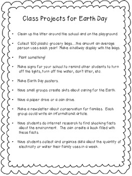 Earth Day Writing Activity and Project Ideas