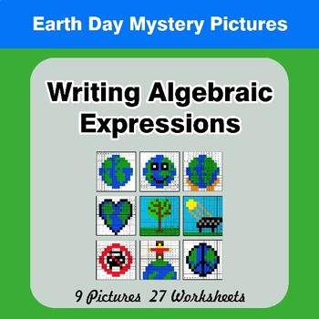 Earth Day: Writing Algebraic Expressions - Math Mystery Pictures