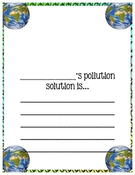 "Earth Day Writing: ""My Solution to Pollution"""