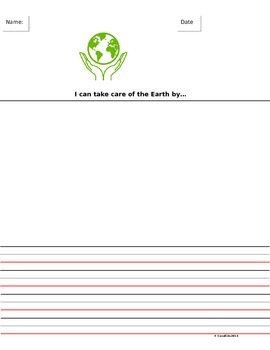 Earth Day Writing Paper- Primary