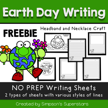 Earth Day Writing Prompt FREEBIE - with Necklace and Headband Craft