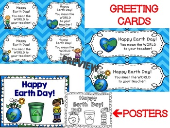 Earth Day Writing Stationary-Earth Day Greeting Cards-Earth Day Bookmarks/Poster