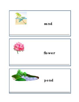 Earth Day Writing Words Sky Tree Sand Flower Pond Writing