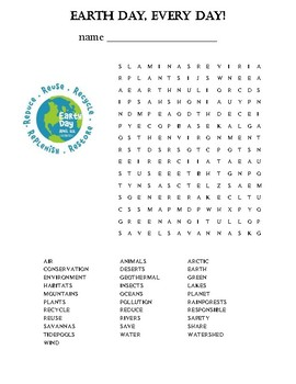Earth Day Word Find Puzzle