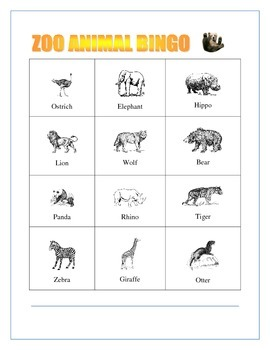 ZOO Animals Bingo- Pre K-3 - Language Arts-Writing Prompt