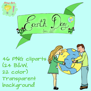 Earth Day cliparts! 24 color-22 b&w - Transparent background - PNG