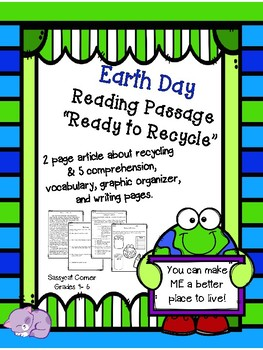Earth Day close reading passage and mini-book - Ready to Recycle