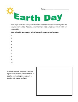 Earth Day handout