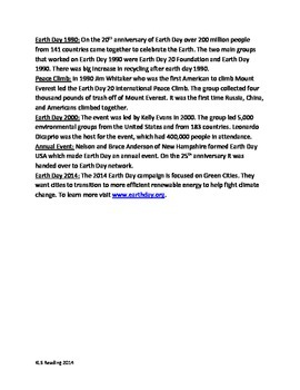 Earth Day -Informational Article History Facts Recycling Questions activities