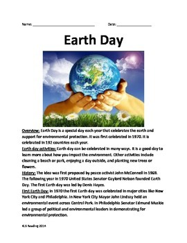Earth Day -Informational Article History Facts Recycling Q