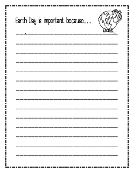 Earth Day is important because... Writing Pages