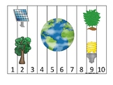 Earth Day themed 1-10 Number Sequence Puzzle Preschool Math Game.