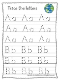Earth Day themed A-Z Tracing Preschool Handwriting Worksheets.
