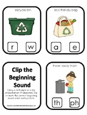 Earth Day themed Beginning Sounds Clip It Preschool Phonic